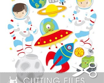 Astronaut in space cutting files, svg, dxf, pdf, eps included - cutting files for cricut and cameo - Cutting Files SVG - CT579