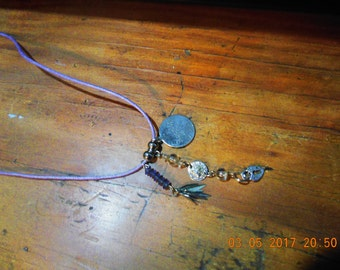Necklace with 3 Pendants and 2 Balls On Lilac Cord - Handcrafted