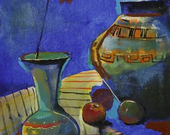 Pottery Still Life | Original Impressionist Oil Painting 16inX20in