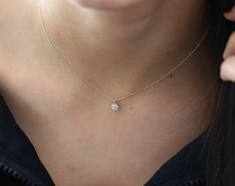 Diamond Solitaire Necklace - 0.21 Ct. Diamond Bezel Set Solitaire Necklace available as 14k Gold, White Gold or Rose Gold - Graduation Gift