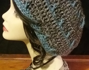 Handmade crochet heather blue and black slouchy tam beret hat