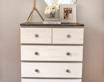 SOLD (sample only) Two tone dresser, chalk paint drawer, grey and white chest, shabby chic knobs, refaced gray dresser, distressed drawers.