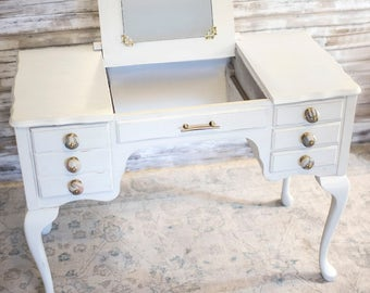 SOLD Vintage Vanity, white french vanity, makeup table
