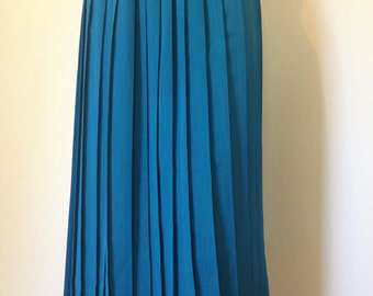 70s 80s Teal Blue Accordion Pleated Midi Skirt