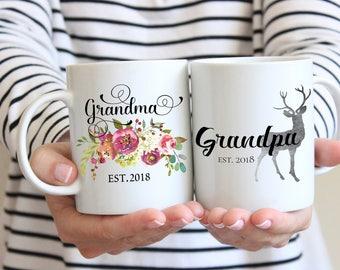 Pregnancy Reveal To Grandparents, Grandma Grandpa Mug Set, Pregnancy Announcement Grandparents, New Grandparents Gift, Future Grandma