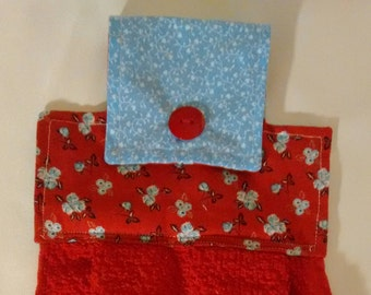 Red with Blue Flowers Hanging Dish Towel, perfect for Spring/Summer