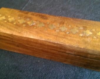 Handmade Teak Box with Brass Inlay