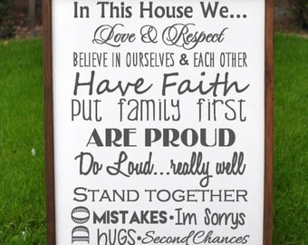 Farmhouse Style Our Family Rules, House Rules Wooden Sign, Family Rules Rustic Wood Sign 18 x 24 Wooden Sign, Rules of the Family wood sign