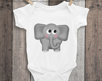 Adorable Elephant Infant Bodysuit - Cute Elephant cartoon illustration for baby - white black or pink One-Piece Shirt