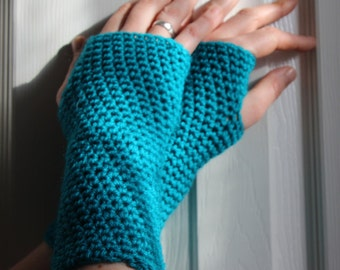 Hippy Festival Crochet Fingerless Gloves, Turquoise