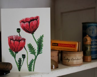 Red Poppies - Limited Hand Signed Print and Greeting Card