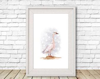 Polka Dot Goose Print, Illustration, Wall Art, Drawing A4, A5