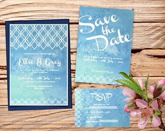 Blue Watercolour Printable Wedding Invitation