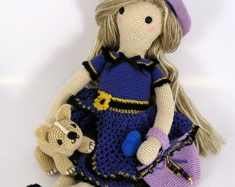 Crochet Thread Blonde Doll in Purple Dress with Puppy