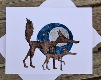 Wolf note card, wolf lover, Wolf Mama, Wolf Dad, Gift for new Mom, Gift for new Dad, nursery art, kids room art, wolf decor,