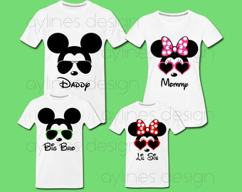 Minnie Mickey Mouse Sunglasses Prints for Disney Family Shirts Custom Design. Printable PDF PNG JPG by aylines