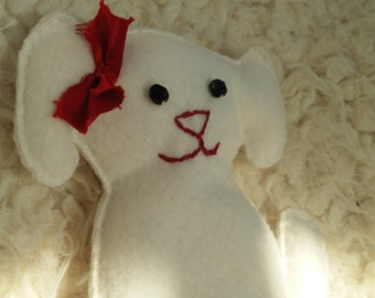 100% Cotton Handmade White Puppy Plush with Red Embellishments