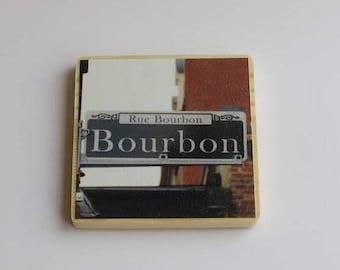 Wood photo coaster - Bourbon Street sign - New Orleans