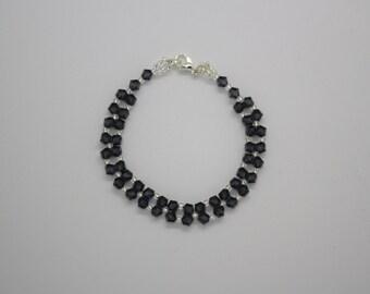 Black Swarovski crystal and silver seed bead bracelet