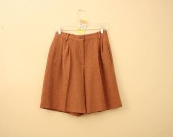 Vintage Rust Orange 70s Wool Blend Shorts *Flat Rate Shipping* [Cute Vintage Shorts Women's Size 8 Medium] 28 inch waist