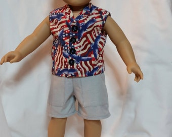Boys Shorts and Patriotic Shirt Set For 18 inch Dolls