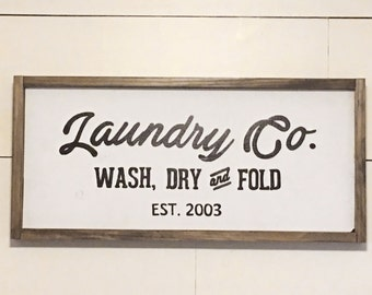Solid Pine Laundry Co Sign