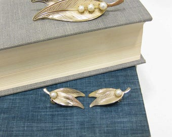 Vintage Signed Star Pearl Brooch & Earring Set
