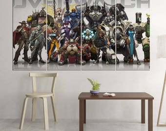 Overwatch Heroes - 4 Piece Canvas | Overwatch Wall Art | Painting | Poster | Print | Mural | Decal | Artwork | Decor