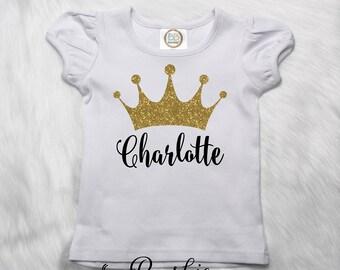 Personalized Princess Shirt, Toddler Princess T-Shirt, Crown, Name Shirt, Glitter Tiara Shirt, Monogram Girls Ruffle Tee, Black & Gold P3