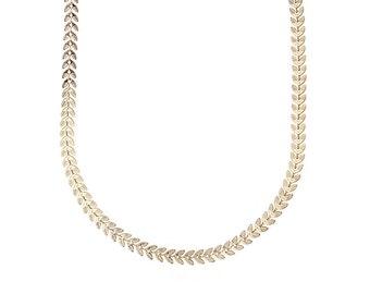 Herringbone Gold Chain Necklace