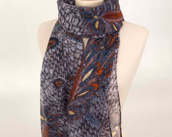 Grey Indian Floral Scarf, Grey Scarf, Women Scarf, for her, One of a kind, Gift Scarf, Indian Scarf, Flower Scarf, Soft Scarf, Long Scarf