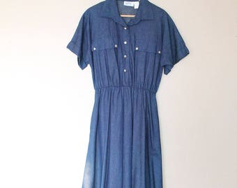 1970s Vintage Denim Dress
