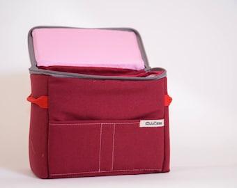 Shockproof Padded Insert - DSLR Camera Case - Camera Bag Partition - Protection Case - Photo Bag Insert - JuCase Red/Pink