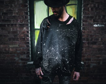 Distressed Hand Painted Splatter Sweatshirt