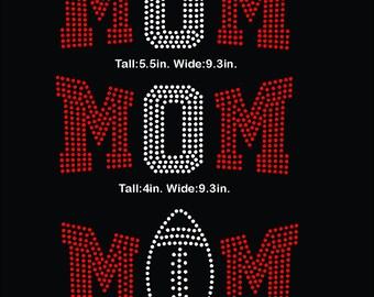 Football MOM, footballl, ball, mom, rhinestone template digital download, svg, eps, studio3, png, dxf