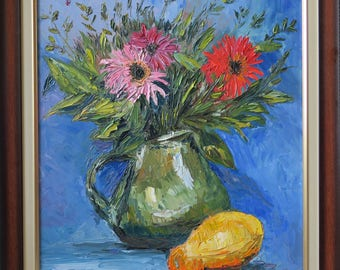 Flowers (with frame)/ Pumpkin/chrysanthemum/flower/ Canvas/ Palette Knife/ gallery/ fine art/ ready hang/Flowers/oilpainting/Chamomile