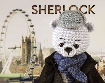Sherlock, Knitted bear Sherlock Holmes toy bear Knitted teddy bear Toy bear Crochet bear Knitted teddy Knitted Toy Sherlock serial