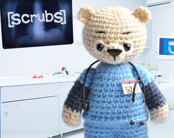 "Scrubs, Knitted bear John ""J.D"" Dorian toy bear Knitted teddy bear Toy bear Crochet bear Knitted teddy Knitted Toy Scrubs serial"