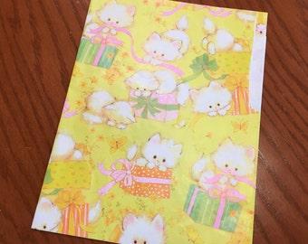 Vintage Gift Wrap, Children's Gift Wrap, Birthday Gift Wrap, Kitten Gift Wrap