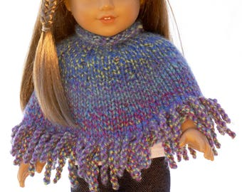 American Girl 18 inch doll poncho in periwinkle-multicolored