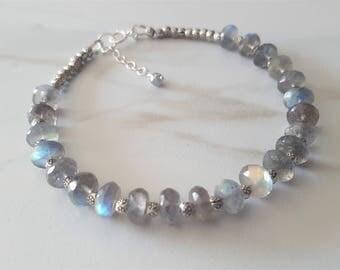 Labradorite And Sterling Silver Bracelet, Genuine Labradorite, Karen Hill Tribe Silver Beads, Gemstone Bracelet, Labradorite Jewelry
