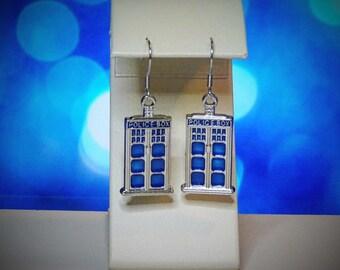 Earrings. Dr Who Inspried. Tardis.