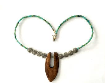 Turquoise and silver sun beaded necklace with wooden pendant