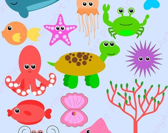 Sea Creatures Clip Art,Sea Creatures Clip Art,Sea Animals Clip Art,Sea Animals PNG ,cute sea creatures ,sea animals svg,decorative clip art
