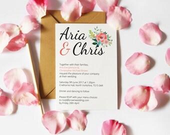 Digital Printable Modern Floral Wedding Invitation
