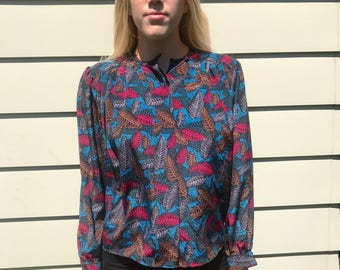 Vintage 80s Colorful Feather Print Blouse by Anna Kriste Petites