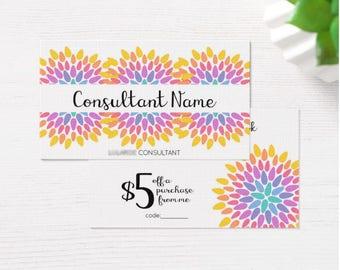 Floral Card Facebook Discount Design - Information Consultant Unique Info discount custom personalized