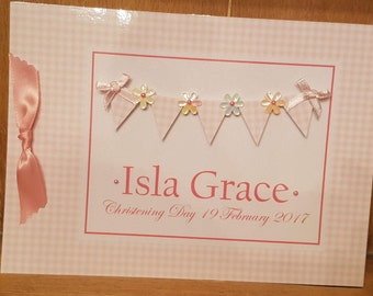 Christening Guest Book  (Bunting Design)