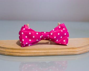 Bow tie pink polka dot for women