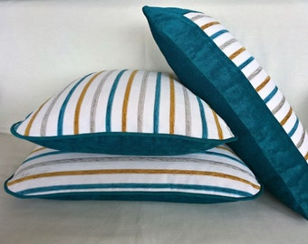 Decorative couch pillow set of 3 striped, throw pillows, home decor, outdoor pillows, cushion cover set 20X20, 16X25, 16X25